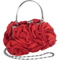 MG Collection - Enormous Rosette Roses Framed Clasp Evening Handbag Clutch Purse Convertible Bag w/Hidden Handle, Shoulder Chain Red - Torbe z zaponko - $39.99  ~ 34.35€