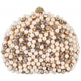 MG Collection - Exquisite Intricate Pearl Beads Rhinestone Encrusted Closure Half-moon Hard Case Clutch Baguette Evening Bag Handbag Purse w/2 Chain Straps Gold - Clutch bags - $37.50
