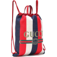 Qiou - GUCCI Striped drawstring backpack - Backpacks -