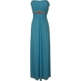 PacificPlex - Goddess Empire Strapless Chiffon Gown w/Rhinestone Accent Junior Plus Size Turquoise - Dresses - $99.99