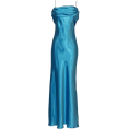 PacificPlex - Grecian Satin Prom Formal Gown Long Holiday Party Cocktail Dress Bridesmaid Turquoise - Dresses - $69.99