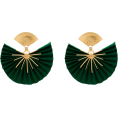 haikuandkysses - Green And Gold Tone Sparkle Fan Earrings - Uhani -