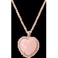 aazraa - Heart Rose Quartz & Diamond Pendant Neck - Ogrlice -