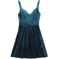 FECLOTHING - Heart-shaped collar velvet dress - Dresses - $28.99