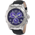 Invicta - Invicta Men's 1717 Pro Diver Chronograph Blue Dial Black Leather Watch - Watches - $109.99