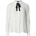 lence59 - Ivory Frilled Bow Tie Shirt - Camisa - longa -