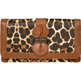 Jessica Simpson - Jessica Simpson Women's Emma Double Sided Clutch Small Leather Walnut Multicolored Leopard Cheetah PVC - Clutch bags - $44.95