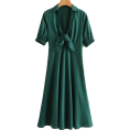 FECLOTHING - Lapel chest knotted deep V-neck A-line d - Dresses - $29.99