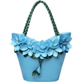 lence59 - Leather Flower Decoration Bucket Bag - Hand bag -
