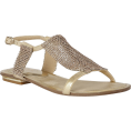 ValeriaM - Lotus Agnetha Gold Diamante Flat Sandals - Sandals -