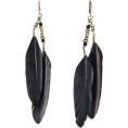 Mango - Mango Women's Feather Long Earrings Black - Earrings - $14.99