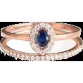 aazraa - Mini Diana Ring Oval Gemston Halo Diamon - Rings -