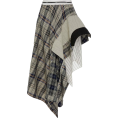 sandra  - Monse Draped Plaid Crepe Skirt - Saias -