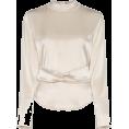 Georgine Dagher - NANUSHKA almond belted satin blouse 364 - Long sleeves shirts -