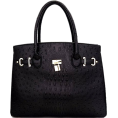 Mary Cheffer - OSTRICH PRINT LOCK FRONT SATCHEL - Hand bag - $62.00