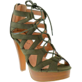 annah2 - Olive Green Criss-Cross Lace Up Pumps - Platforms -