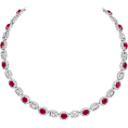 Rocksi - Oval Ruby and Baguette-Cut Diamond Neckl - Necklaces - $105,000.00