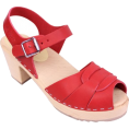 svijetlana2 - PEEP TOE CLOGS RED LEATHER - Sandals -