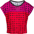 asia12 - Pink Red Polka Dot Box Cut Flowy Tee - T-shirts - $46.00