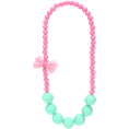 Jay Han - Pink and Blue Beaded Bow Necklace - Ogrlice -