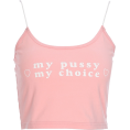 FECLOTHING - Pink basic printing letter love camisole - Vests - $19.99
