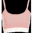 FECLOTHING - Pink letter print contrast sling vest - Vests - $15.99