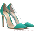 Rocksi - Plexi Suede And Transparent Pumps - Gree - Classic shoes & Pumps - 60.74€  ~ $70.72
