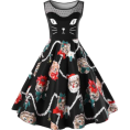 thenycbaglady - Plus Size Kitten Pattern Swing Dress - Dresses -