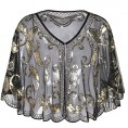 PrettyGuide - PrettyGuide Women's Evening Cape Sequin Deco Paisley 1920s Shawl Flapper Cover up - Shirts - $25.99