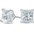aazraa - Princess Cut Diamond Stud Earrings, Mart - 耳环 -