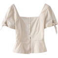 FECLOTHING - Pure color square waist bow top - Shirts - $25.99
