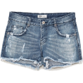 vespagirl - RIPPED DENIM LOW-RISE SHORTS - Shorts - $35.90