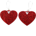 amethystsky - Red Glitter Heart Earrings - Earrings - $14.23