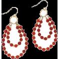 Bev Martin - Red Hoop Earrings - Kolczyki -