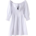 FECLOTHING - Retro Square Puff Sleeve Sleeve Pleated - Dresses - $29.99
