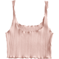 ZAFUL - Ribbed Fitted Crop Tank Top - Light Pink - Tanks -