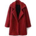 sandra  - Romwe Color Block Red Woolen coat - Jakne in plašči -
