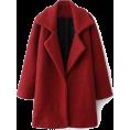 sandra  - Romwe Color Block Red Woolen coat - Jacket - coats -
