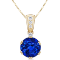 Angara Inc.  - Round Blue Sapphire Pendant - Necklaces - $4,509.00
