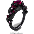 BlueKnight - Ruby, Pink Sapphire And Black Gold Ring - Rings -