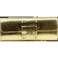 Scarleton - Scarleton Metallic Flap Clutch H3063 Gold - Clutch bags - $14.99