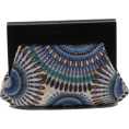 Scarleton - Scarleton Wood Framed Embroidered Clutch H3002 Blue - Clutch bags - $19.99