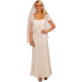 Hot from Hollywood - Short Sleeve Empire Waist Lace Overlay Full Length Wedding Gown Bridal Dress - Vestidos de casamento - $99.99  ~ 85.88€