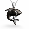 D-GOLD - Sterling Silver Diamond Black Shark Pendant (0.12 ctttw) - Pendants - $59.98