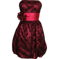 PacificPlex - Strapless Lace Overlay Satin Bubble Prom Dress Black-Fuchsia - Dresses - $99.99