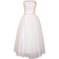 PacificPlex - Strapless Tulle Prom Dress Holiday Formal Ball Gown Gold Embroidery Ivory - Wedding dresses - $89.99