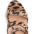 Qiou - Three-strap sandals in leopard calf hair - Sandals -