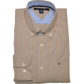 Tommy Hilfiger - Tommy Hilfiger Men Classic Fit Striped Logo Shirt Beige/white/navy - Long sleeves shirts - $39.99