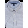 Tommy Hilfiger Shirts -  Tommy Hilfiger Men Striped Short Sleeve Logo Oxford Shirt White/Blue