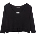 FECLOTHING - U-neck Drawstring Knit Top T-shirt - Long sleeves shirts - $27.99